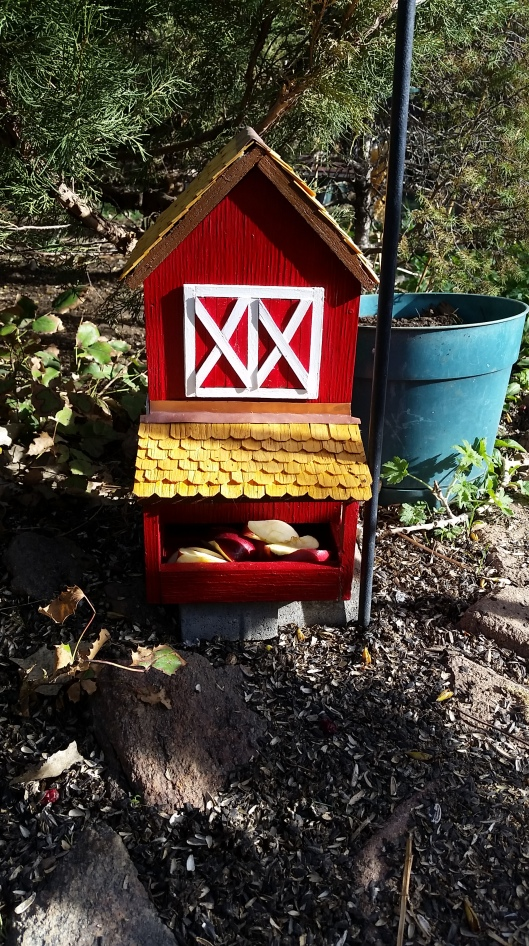 Snack Box...was old, plain, and falling apart. I painted it, made fake doors, put shingles on roof...now it is beautiful. The raccoons like to take the roof off to see what is in there.