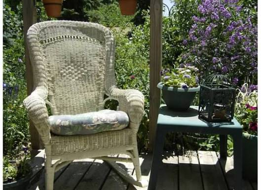 Wicker Rocker on Deck...great way to relax!